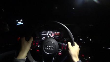 汽车实拍第一视角:德国夜间试驾2019款奥迪RS,外观非常炫酷