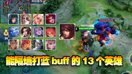 王者荣耀:13个能隔墙打蓝buff的英雄!全部了解,对实战帮助很大!