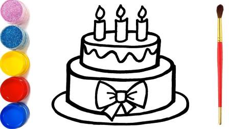 儿童趣味手工绘画:动手画美味的生日蛋糕和涂色彩!
