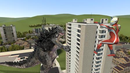 哥斯拉要把大楼摧毁,杰斯提斯奥特曼看到也害怕了