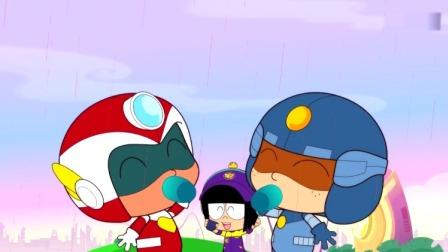 开心超人:果汁嘉年华会开始了,天空下起了果汁雨,是草莓果汁!
