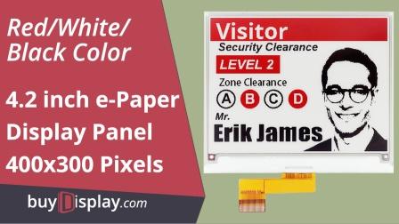 方形4.2寸黑白红三色电子墨水屏400x300分辨率电子纸显示屏e-ink面板
