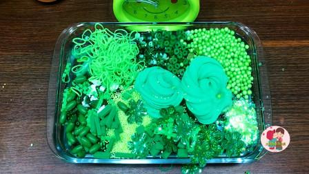 手压玩具,绿色灰泥混合,随机物到清净泥绿色珠子,儿童玩具亲子互动