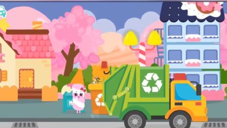 棉花糖家族组装垃圾车清理路边垃圾!汽车总动员游戏