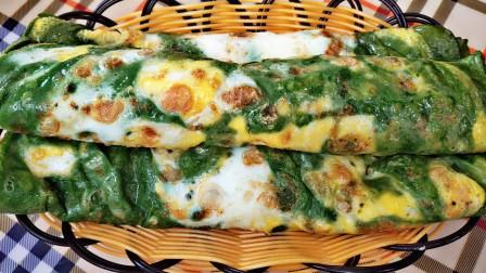菠菜加鸡蛋最好吃做法,加一勺面粉,不揉面不发面,出锅比吃肉香