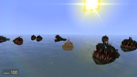 银河奥特曼乘着小木船在漂流遇到了一群灯笼鱼