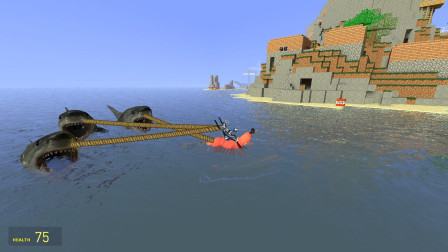 赛罗奥特曼骑的皮皮虾可以把三条鲨鱼都拖走