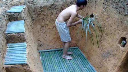 原始技能 挖建最赞的地下房屋和地下游泳池