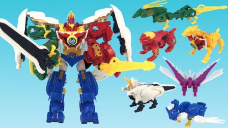 神兽金刚4!邦宝历险记变形六合体玩具