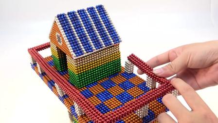 用彩色磁力球制作小仓鼠的房子