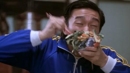 周星驰和元华吃饭,梁家仁只顾着吹牛,结果两分钟就只剩菜汤了