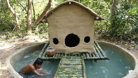 在游泳池上建造最美丽的房子