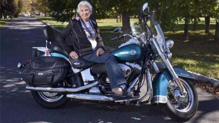 95岁老奶奶痴迷摩托车,骑行100万公里,做真正的哈雷奶奶