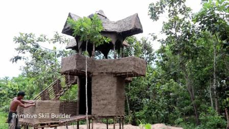 建漂亮的两层泥屋,房子下面建游泳池