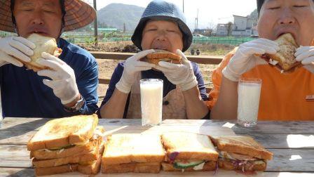 【中文字幕】韩国兴森吃播:一家吃锅盖烤面包,兴森说想起小时候