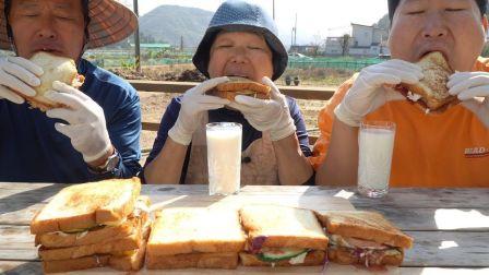 - 不爱看镜头的一家人 - 火腿鸡蛋蔬菜加上各种果酱制作的多种配料吐司料理篇(Toast with a variety of ingredi...
