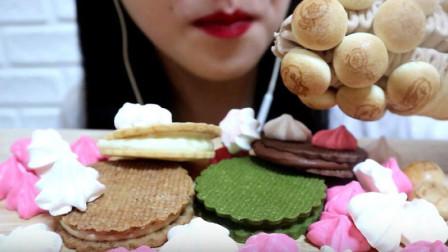 吃美食的声音,吃播果冻蘑菇甜筒冰淇淋、彩色蛋白糖、抹茶奶油饼干!