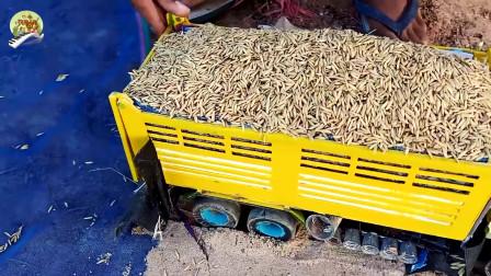 仿真挖掘机自卸车和手扶拖拉机拉稻谷玩具