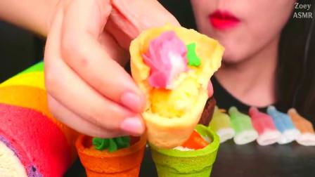 不露脸小姐姐, 试吃彩色盆栽蛋糕,看她吃的多香甜啊