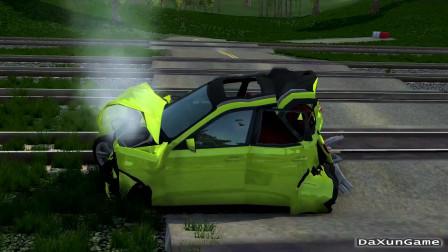 车祸模拟器:汽车被火车大卸八块,学不来学不来