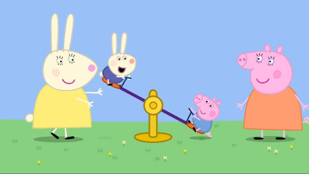 小猪佩奇来游乐园玩,乔治和理查德在玩跷跷板