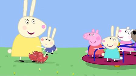 小羊苏西想要和小猪佩奇他们玩旋转圆盘,可是人太多了