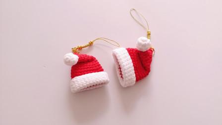 钩针编织 迷你圣诞帽挂坠的钩织方法 详细版视频教程
