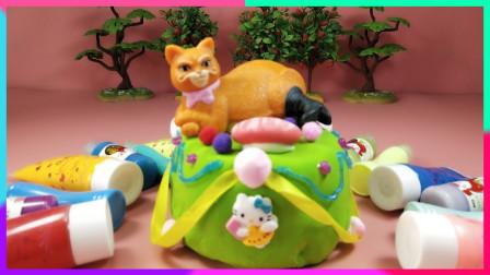 灵犀小乐园之美食小能手 创意蛋糕屋:草地上晒太阳的猫咪蛋糕