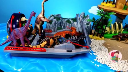 野生动物恐龙玩具,好多恐龙上了轮渡,假山森林,恐龙玩具展示,儿童玩具亲子互动