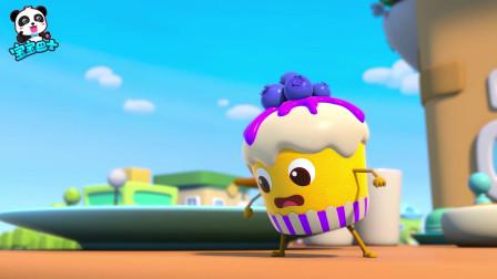 《宝宝巴士美食总动员》杯子蛋糕 蓝莓用摇控飞机把伙伴们救上来