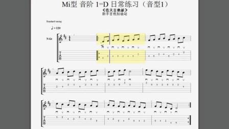 吉他练习这些比练格子强百倍 Mi型音阶第二把位1=D日常必练 音型1