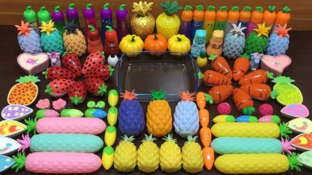 菠萝+草莓+茄子+红萝卜+玉米+南瓜等99种无硼砂材料混合做史莱姆,好玩解压