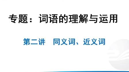 初中语文基础知识积累与应用—词语的理解与运用 同义词,近义词:两者的含义及区别