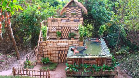 荒野兄弟不用一砖一瓦,建造出两层豪华别墅,自带泳池太奢侈!