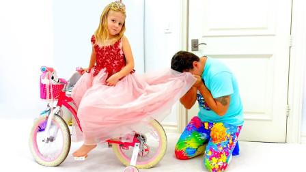 咋回事?爸爸为何拉着萌宝小萝莉的裙子呢?趣味玩具故事