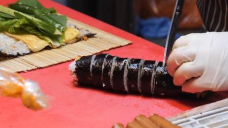 韩国夜市超火的小吃,香肠五花肉紫菜包饭,看完你想来一份吗