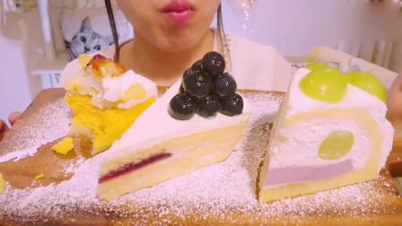 吃播大胃王:小姐姐面前有三块不同口味的蛋糕,南瓜乳酪蛋糕看起来很美味呀