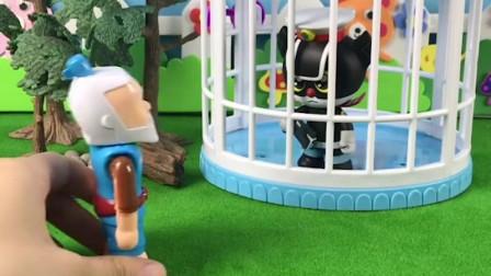 黑猫警长被葫芦娃爷爷关在了笼子里,黑猫警长问他为什么,结果发现葫芦娃爷爷是霸王龙变的