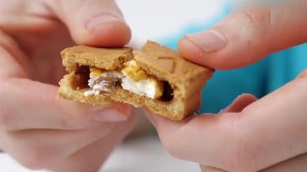 大胃王吃播,试吃枫糖奶油夹心曲奇饼干,香脆