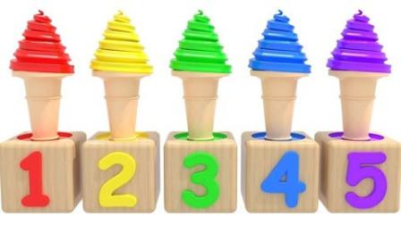 手工制作各种色彩冰激凌学习认识颜色和数字英语早教益智动画