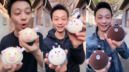 帅哥试吃各种卡通小猪蛋糕,小猪造型好可爱,你想吃吗?