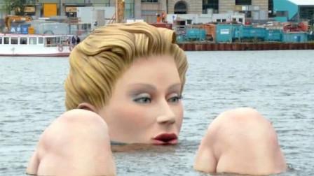 """湖中惊现巨型""""美人鱼""""沐浴,游客争抢拍照,咋回事?"""