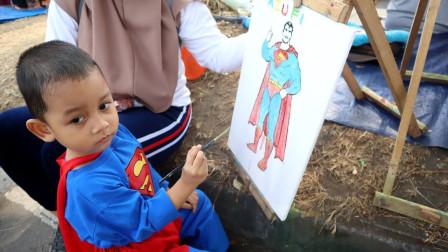 萌宝卡通玩具:为何纸上出现一模一样的超人?小正太手艺太强了