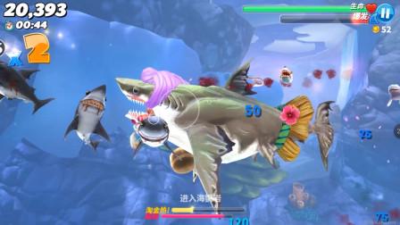 饥饿鲨世界:巨齿鲨在北冰洋来到一个都是垃圾的深海,差点死了