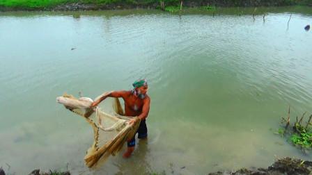 河里的鱼越来越少了,大叔一网下去,看看还能捕到啥?