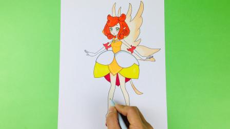 手绘小花仙之美人蕉花精灵王简笔画 画法简单可爱 小伙伴很喜欢