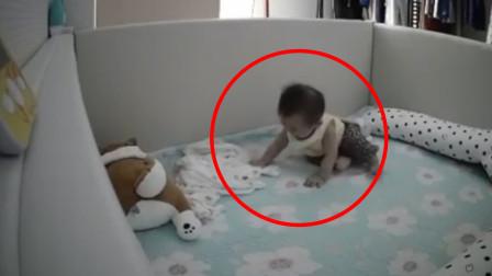 萌宝睡醒后找不到妈妈,样子真令人心疼,监控拍摄记录全过程