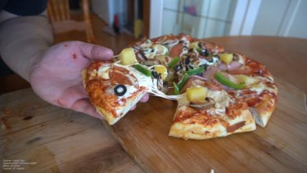 披萨别再买着吃了,吃播教你家常做法,一天三顿都吃不够