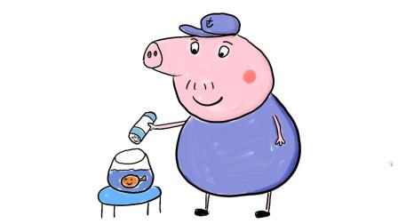 小猪佩奇的爷爷给金鱼喂食儿童卡通简笔画