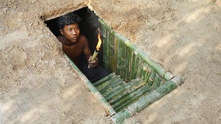 """越南小伙在地底下挖出""""豪华""""竹屋,钻进去后,简直惊呆了!"""